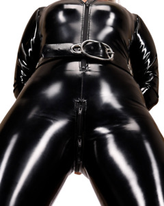 PUSSYROIT CL1C_ZV66 SmoothSide Ouvert Stretch-Lack Catsuit - M