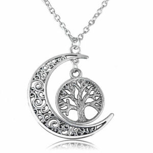 * TREE OF LIFE & MOON * SILVER PENDANT / NECKLACE WITH CHAIN - NEW