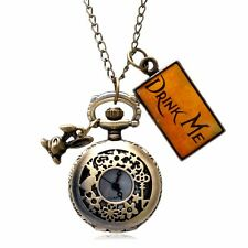 Alice In Wonderland Rabbit Flower Necklace Chain Quartz Pocket Watch Women Gift