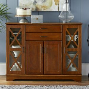 Walnut Finish Wooden Buffet Server Storage Cabinet Dining China Hutch Sideboard
