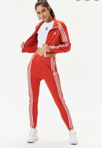 ADIDAS Red Original High Waist Tapered Track Pants XS