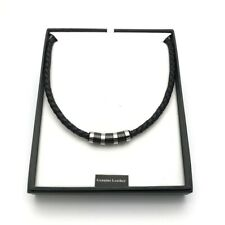 Men's Black Leather & Stainless Steel Necklace (A) Comes Boxed