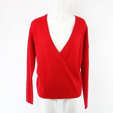 HMK pull femmes Uma 38 rouge effet cache-coeur Pure Cachemire tricot NP 229 NEUF