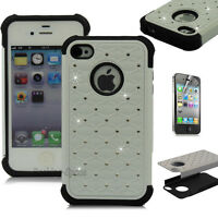 Luxury Hybrid Rugged Rubber Bling Crystal Hard Case Cover for iPhone 4 4S 4G