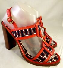 TORY BURCH WOMAN SANDALS SHOES RED BEADED SIZE US 7.5 M VERY RARE AND EXCELLENT