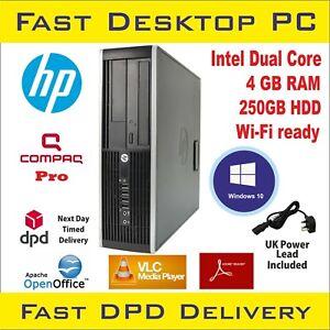 Fast HP Compaq Pro6300 SFF Desktop PC Intel Dual Core 4GB RAM 250HDD Win-10 WiFi