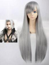 Wie Echthaar! Einzigartiger Stil Damen Long Glatt Grau Volle Perücken wig
