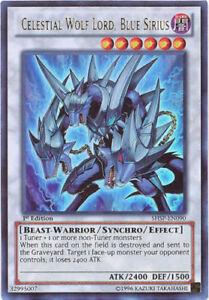 YUGIOH Celestial Wolf Lord, Blue Sirius SHSP-EN090 Ultra Rare Unlimited Edition