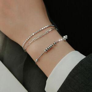 Womens Ladies 925 Sterling Silver Beaded Bracelet Jewellery Solid Bangle Gift UK