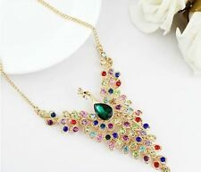 18k Gold Plated Colourful Rhinestone Peacock Beaded Wing Y Bib Collar Necklace