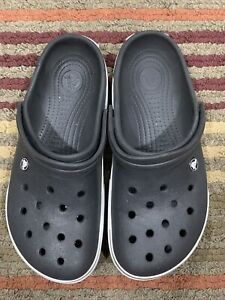 Crocs Crocband II Clogs, Black & White, Men's Size10, Women's Size 12