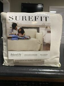 Surefit Relaxed Fit Slipcover- Farmhouse Basketweave- Ivory- Fits Sofa