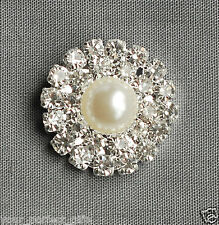10 Round Circle Rhinestone Crystal Pearl Button Buckle