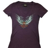 Harley Davidson Women's Small Orlando Florida V Neck T shirt Cotton Polyester
