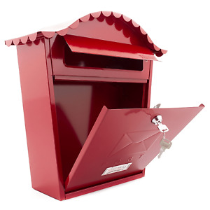 Classic Styled Post Letter Mail Box Red Steel Name Plate, Wall Mounted lockable