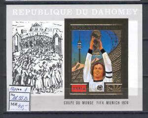 Soccer 1974 A27 Dahomey block foil Word Cup Munich CV 40 eur Beckenbauer imperf
