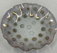 "Vintage Clear Smoke Glass Scalloped Bowl Geometric Gold 13"""