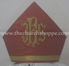 New Red Mitre with IHS embroidery,mitra,Bishop's Mitre, New