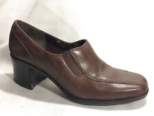 Clarks Leather Womens 7 M High Heel Booties Clog Shoes Slip On Brown Bicycle Toe