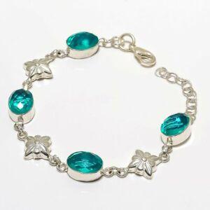 """Swiss Blue Topaz Gemstone 925 Sterling Silver Bracelet 7.99"""" B-7104"""