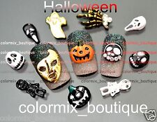 3D Halloween Nail Art Decoration Pumpkin Skull Glitter Alloy Jewelry(SET NO.15)