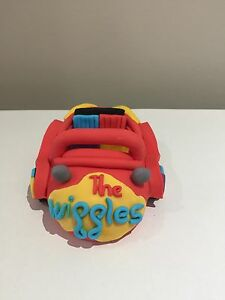 Wiggles Red Car Cake Topper fondant Baby birthday cakes  toppers 3D Edible
