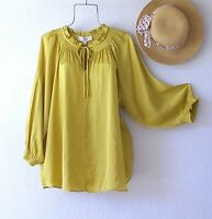 New~Citron Peasant Blouse Shirt Ruffle Victorian Spring Plus Size Boho Top~2X