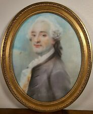 Antique French Pastel Portrait Painting 18th century Man rococo old master 1700s