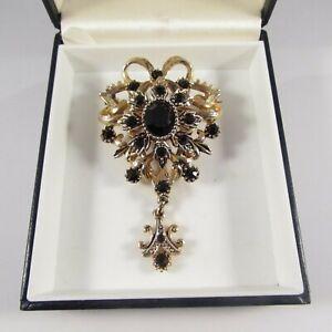 Vintage Goldtone & Black Glass Victorian Style Regal Drop Dangle Brooch Pin