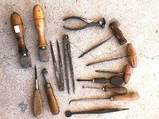 (n°1) OLD TOOL / LOT 14 OUTILS  ANCIENS DE BOURRELIER CORDONNIER