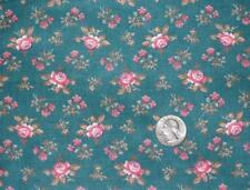 1/2 YD VINTAGE TEAL GREEN & ROSE FLORAL QUILT DOLL CRAFT  # 4146 Made in USA