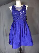 Adrianna Papell Sleeveless Blue Women's Size 14 Sequin Shantung Sheath Dress