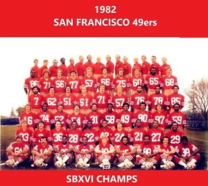 1982 SAN FRANCISCO 49ers 8X10 TEAM PHOTO FOOTBALL PICTURE NINERS NFL SBXVI CHAMP