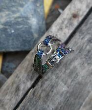 Natural Handmade 925 Sterling Silver Ring Zircon Ruby Sapphira Gemstone Ring
