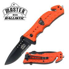 Spring Assisted Semi-Automatic Master USA Ballistic Orange Skull Halloween Knife