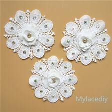 3D Vintage Flower Diamond Lace Edge Trim Wedding Ribbon Applique Crochet Patches