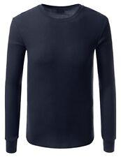 Haute Qualité Thermique Manche Longue Col Rond T-shirt pour petite taille Hommes-Bleu