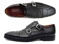 Paul Parkman Men's Double Monkstraps Black Crocodile Embossed Calfskin (ID#045BK