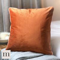 "Pair of Luxury Smooth Velvet 17"" Cushion Covers Rust Burnt Orange Piped Modern"