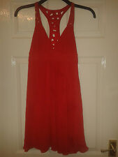 Womens Sleeveless Dress - Lipsy London - Light Red With Sequins - Size 8 UK