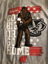 University of Wisconsin Badgers Star Wars Chewbacca Football Tee Youth Xl
