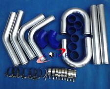 "2.5"" 64mm Aluminum Universal Intercooler Turbo Piping pipe + Blue hose kit"