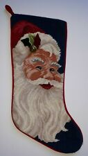 "Christmas Stocking Santa Claus Christmas Needlepoint Red Velvet Backing 18"""