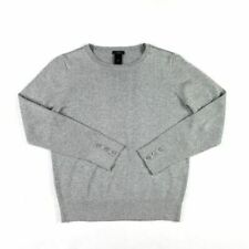 Ann Taylor Womens Crew Neck Sweater Size LP Petite Gray Shimmer Knit Pullover