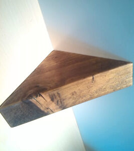 CORNER SHELF - Vintage style Solid Chunky Wood - DARK OAK - 40CM