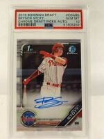 2019 Bowman Chrome Bryson Stott Base Auto 1st PSA 10