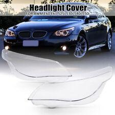 Pair R & L Headlight Lamp Clear Lens Cover For BMW E60 E61 525i 530i 540i 550i