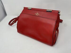 "Coach 24053 Selena Gomez Grace Leather Red Cherry Satchel Crossbody Bag 11x9x6"""