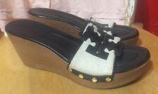 Tory Burch Womens 9 M Black Tan White Slides Wedges