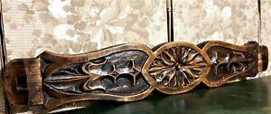 Fleur de lis rosette wood carving pediment Antique french architectural salvage